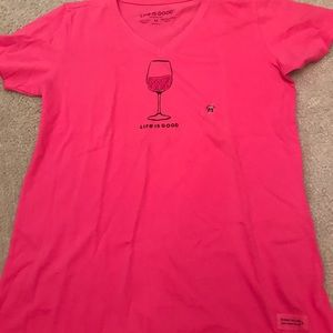 Life is Good pink v neck wine glass t shirt